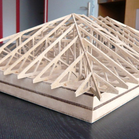 Model vazníkového krovu